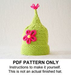 Knit Hat Knitting Pattern - Girls Pixie Hat Pattern - the ZOE Hat (Newborn Baby Toddler Child & Adult sizes incl'd)