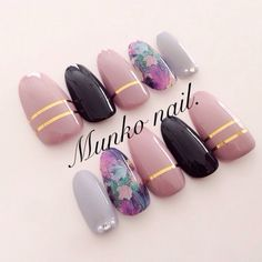 58 new ideas for nails gray black make up Classy Nails, Fancy Nails, Trendy Nails, Love Nails, Stylish Nails, Classy Nail Designs, Nail Art Designs, Nails Design, Fabulous Nails