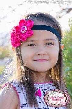 Shabby headband, pink satin shabby headband ,  shabby flower headband, flower girl headband , wedding headband on Etsy, $10.95