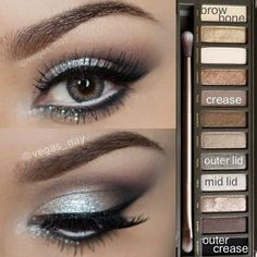 Glamorous silver smokey eye using Urban Decay Naked 2 palette by ina