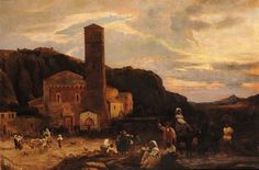 View Paesaggio con chiesa e viandanti in abiti tradizionali by Oswald Achenbach on artnet. Browse upcoming and past auction lots by Oswald Achenbach. Old Master, Art School, All Art, Art History, Landscape Paintings, 19th Century, Past, Sculptures, Old Things