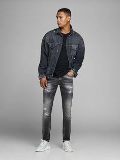JACK & JONES Jeans Herren, Black Denim, Größe 34