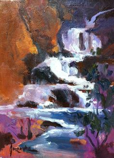 SUSAN GREAVES LISTED ARTIST OIL CANVAS UNFRAMED SMALL LANDSCAPE WATERFALL NEW #Impressionism  SOLD