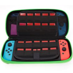 Butterfox Switch Case for Nintendo Switch, Fits AC Adapter Wall Charger, 8 Game Cartridge and 2 Mirco SD Card Holders, Large Secure Mesh Pouch for Nintendo Switch Accessories - Neon Green/Black Nintendo Switch Accessories, Used Video Games, Ac Power, Picture Link, Card Holders, Sd Card, Neon Green, Charger, Lunch Box