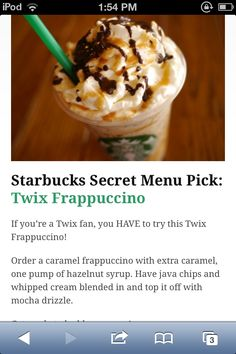 Starbucks Secret Menu I have to try this one! Starbucks Secret Menu I have to try this one! Starbucks Secret Menu I have to try this one! Starbucks Secret Menu I ha Starbucks Secret Menu Items, Starbucks Secret Menu Drinks, Starbucks Coffee, Smoothie Drinks, Smoothie Recipes, Smoothies, Yummy Drinks, Yummy Food, Caramel Frappuccino