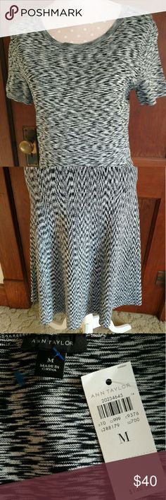 "Ann Taylor Knit Dress New with tags! Gorgeous black and white knit dress. Measures approximately 42"" long. Bust across is 16"". Ann Taylor Dresses"