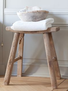 Rustic Wooden Stool In The Bathroom My Sobel Style