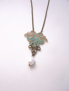 Pearl Drop Necklace Mint Filigree Bridesmaid necklace Cottage chic necklace Shabby chic jewelry Green jewelry €17.50