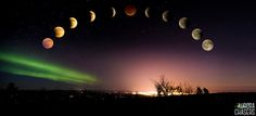 This image is a composite from 12 images. (Aurora over Fairbanks and 11 images of moon.) Even though it was shot same night, photographing moon and Aurora over city required a different lens, exposure, ISO and F-stop. I rarely composite images, but in this image it was necessary to be able to share what I saw that night in a single image