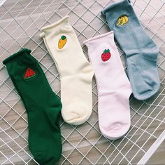 Fruit Embroidery Socks via socksism. Click on the image to see more!