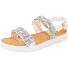 Womens Open Toe Rhinestone Studded Flatform Sandals 9 SilverWhite Glitter >>> Learn more by visiting the image link.(This is an Amazon affiliate link and I receive a commission for the sales)