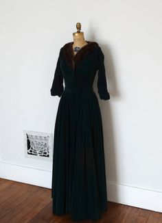 Vintage 1950s Dress  50s Velvet Gown  The by BohemianBisoux