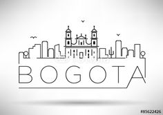 "Bogota City Line Silhouette Typographic Design"" Stock image and ..."