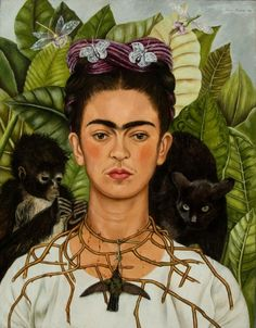 Frida Kahlo Exhibit at the Bronx botanical gardens may- November 2015 ; Frida Kahlo, Self-Portrait with Thorn Necklace and Hummingbird, 1940