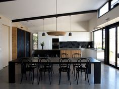 contemporary kitchen concrete floor black and white furniture pendant lamps modern chandelier chalkboard wall Kitchen Decor, Interior Design Kitchen, Contemporary Kitchen Design, Kitchen Design Pictures, Home, Kitchen Design, Black Kitchens, Kitchen Designs Photo Gallery, Kitchen Designs Photos