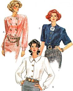 1980s Womens Blouse Pattern Vogue 7586 Loose by paneenjerez, $10.00