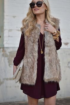 Description: New with tags faux fur vest never worn for a fashionista goes well with everything! Brown Fur Vest, Faux Fur Vests, Fur Vest Outfits, Family Portrait Outfits, Cold Weather Fashion, Fall Winter Outfits, Prada Sunglasses, Burgundy Dress, Dress Long
