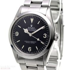Rolex Explorer 1016 Watch with Stainless Steel Bracelet and... for $13,450 for sale from a Trusted Seller on Chrono24 Dream Watches, Cool Watches, Rolex Watches, Rolex Air King, Rolex Explorer, Stainless Steel Bracelet, Seiko, Casio, Omega Watch