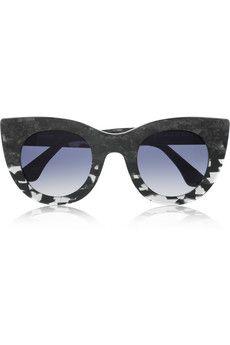 Cat eye marble-effect acetate sunglasses
