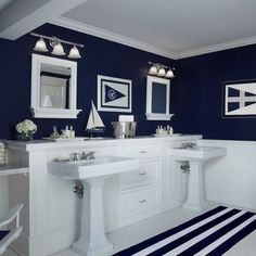 Nautical Navy - traditional - bathroom - other metro - Cottage Company Interiors