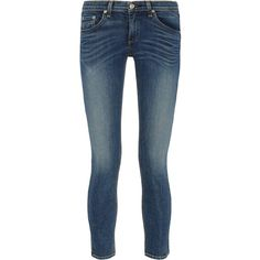 Rag & bone The Capri cropped mid-rise skinny jeans ($300) ❤ liked on Polyvore featuring jeans, pants, denim, bottoms, dark blue, summer capris, cropped capris, faded skinny jeans, dark blue skinny jeans and faded jeans