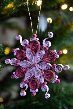 *QUILLING ~ Small quilled purple snowflake