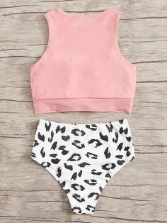 Knot Hem Top With Ruched Leopard Panty Bikini Set – Benovafashion Summer Bathing Suits, Girls Bathing Suits, Summer Suits, Summer Wear, Cute Summer Outfits, Cute Outfits, Casual Outfits, Cute One Piece Swimsuits, Bikini Set