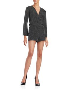 Design Lab Lord & Taylor Metallic Knit Romper Women's Silver Large