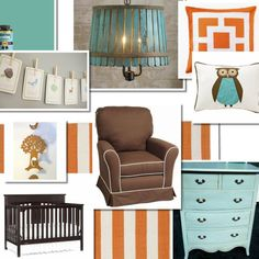 Baby boy nursery.  Modern colors mixed with whimsical decor. Orange, aqua and brown...with vintage touches.
