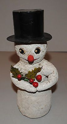 Stunning Antique Snowman Candy Container Germany Very Rare