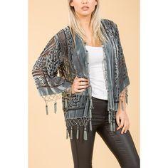 Jayley Grey Silk Kimono Jacket found on Polyvore featuring women's fashion, outerwear, jackets, silk kimono, grey kimono, short jacket, kimono jacket and silk jacket