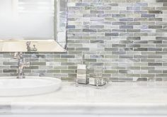 The Redmond translucent glass mosaic has magnificent hues reminiscent of colors of the sea.