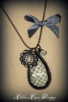 Gray Polkadot Vintage Chandelier pendant with a Horse Shoe wax seal st – Heather Hansen Designs