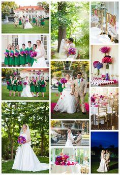Tupper Manor Beverly, Indian fusion, Modern wedding pink and purple bouquet, ballgown dress, kelly green bridesmaids dress  Photography by © BKB Photography www.bkbphoto.com  Flowers: Ilex Designs www.ilexflowers.com