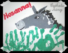 palm sunday donkey and palm leaves  foot and hand print painting