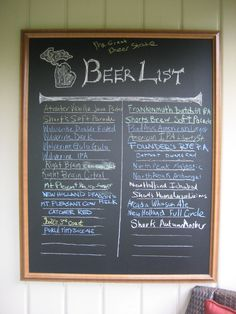 I made this chalkboard for and then we used it for our mini Michigan Beer Fest in our backyard.