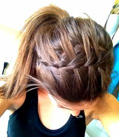 Learned how to waterfall braid into a ponytail! So cute and easy for sports