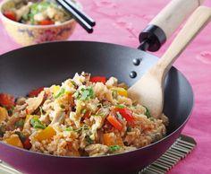 Gebratener Reis mit Poulet und Shiitakepilzen