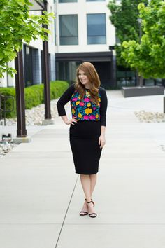 Baseball Tee & a Pencil Skirt (The Lularoe Randy and Cassie) Outfit. @lularoe: Modest Summer Outfit