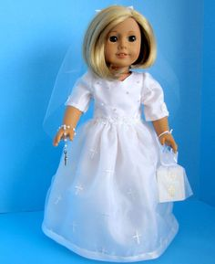 American Girl Doll First Communion Dress of by SewSpecialByBarb, $45.00