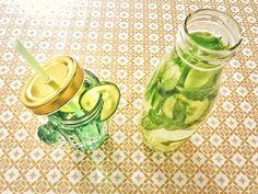 Recette de boisson détox à base de concombre, citron vert et menthe.