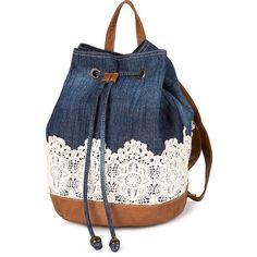 Denim and Crocheted Lace Backpack with Faux Leather Trim ($32) ❤ liked on Polyvore featuring bags, backpacks, purses, accessories, denim backpack, backpack bags, denim rucksack, blue drawstring bag and drawstring backpacks