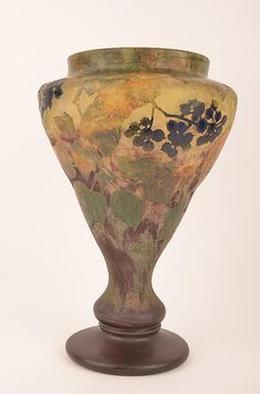 Daum Nancy Cameo Vase Decorated with Berries.