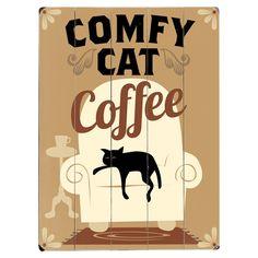 Comfy Cat Coffee Wooden Plaque