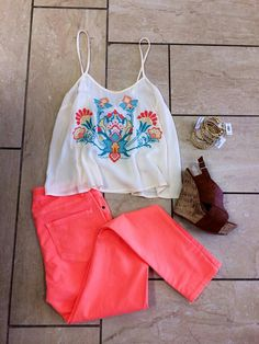 bright coral skinnies, bangles and Mexican shirt