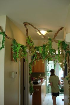 """Jungle Party- 1st Birthday - The """"leaves"""" and """"vines"""" crawled throughout the house"""