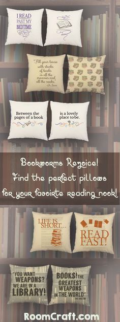 Life is short so read fast! These fun pillows will be a perfect addition to your favorite reading spot. Keep them for yourself or give them to the bibliophile in your life! FEATURES - Prices are for a