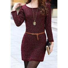 Scoop Neck Solid Color Waistband Long Sleeve Dress