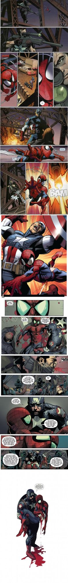 The death of Spider-Man (ultimate universe) saddest moment in my childhood... *side note* to the idiot that posted this before me... this was never a part of civil war... get your fictional facts straight!****