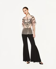 ZARA - WOMAN - EMBROIDERED TULLE TOP